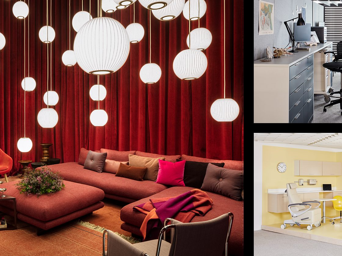 Three settings from Herman Miller's NeoCon showroom featuring lounge, collaboration, and healthcare settings.