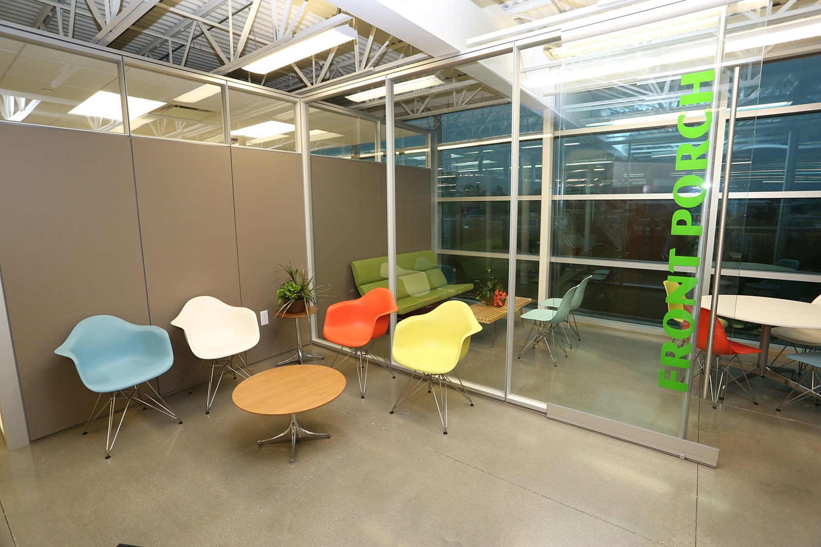 Purfoods, Pigott, Herman Miller, Office Furniture, Corporate Design, Ankeny Iowa, Eames Molded Plastic Chair, DIRTT, Bright Office