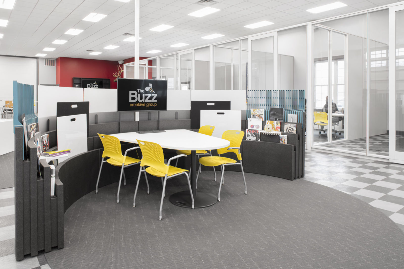 Buzz Creative, Pigott, Herman Miller Furniture, Metaform Portfolio, Meeting Space, Caper Chair, Creative Office