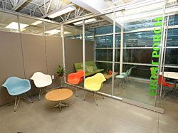 Purfoods, Pigott, Herman Miller, Office Furniture, Corporate Design, Ankeny Iowa, Eames Molded Plastic Chair, DIRTT, Bright Office