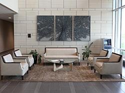 University of Iowa Community Credit Union, Pigott, Iowa, Herman Miller, Office Furniture, Reception Area, Natural Light, Noguchi Table