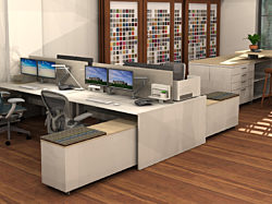 Rendering of modern office workstations within Pigott's Des Moines showroom.
