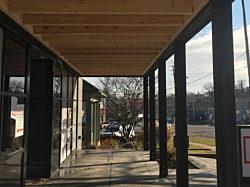 Des Moines, Iowa, Pigott Showroom Renovation, DIRTT Timber, Front Patio, Ingersoll, Herman Miller Certified Dealer