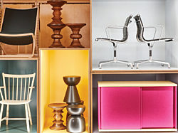 Saturated color was the highlight of NeoCon 2019. A variety of modern furniture pieces are stacked in boxes filled with contrasting colors.