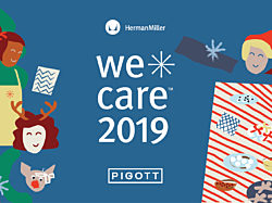 WeCare 2019, brought to you by Herman Miller and Pigott. Children's artwork on a blue background.