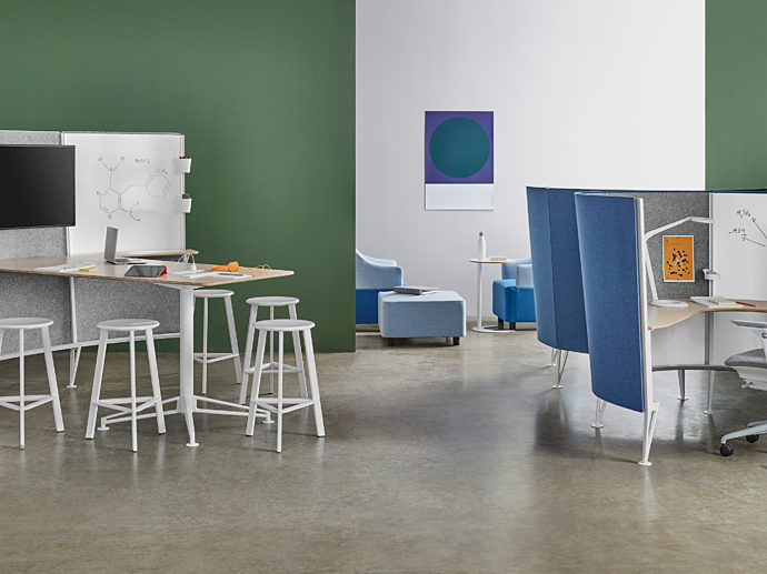 Modern educational furniture in college setting.